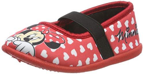 Minnie Mouse Mädchen Girls Kids Ballerina Houseshoes Niedrige Hausschuhe, Rot Red, 29 ()