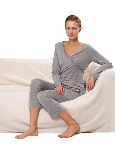 RAIKOU Damen Jersey Fitness Yoga Badeanzug Hausanzug mit Rüschen Raffungen Melange Grau