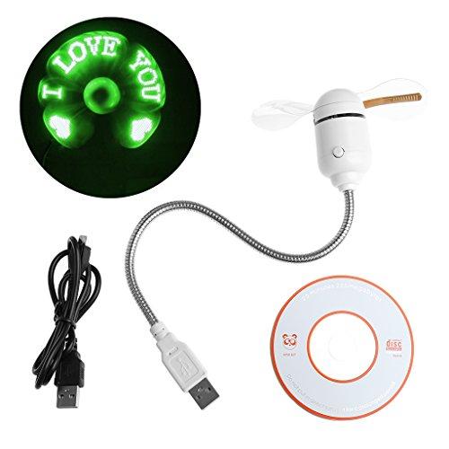 Kofun Mini Fan, tragbare Handhold Fan, USB LED-Licht flexible Lüfter Kühlung DIY Programm bearbeitbare Nachricht für PC Laptop Usb schreiben Text Fan - grün (mit roten Disc) (Sicherheits-licht-schalter Programmierbare)