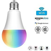 Wifi Smart Bulb Multicolore Dimmable 650LM Lampadina 60W Lampadina Edison Controllo Vocale di Amazon Alexa e Google Home Luce Regolabile Compatibile per iOS Android App Controllata(Warm White 7w E27)