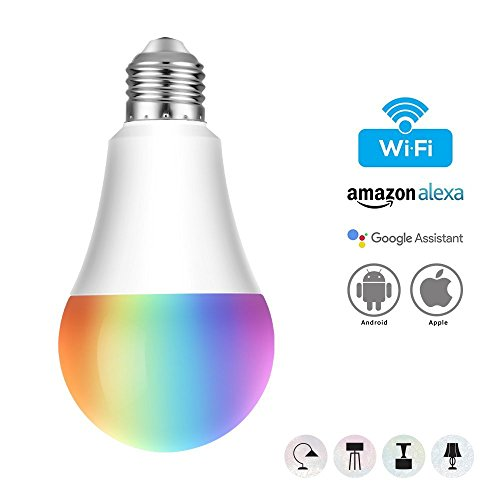 AUSEIN Bombilla Smart LED WiFi Lámpara, Control Remoto Dispositivo Inteligente Bulbo ,Equivalente Control por Amazon Alexa y Google Hogar de Luz Multicolor ;No Se Requiere Hub (Blanco Cálido 7w E27)