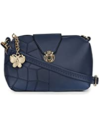 Butterflies Women Sling Bag (Blue) (BNS-B-8032#BL)
