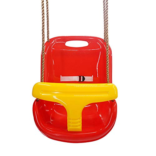 ZJY High Back Voller Eimer Kleinkind Babyschaukelsitz, Verstellbarer Sicherheitsgurt PE Seilklemmschutz Ergonomisches Design Geeignet für Kleinkinder Outdoor Garden