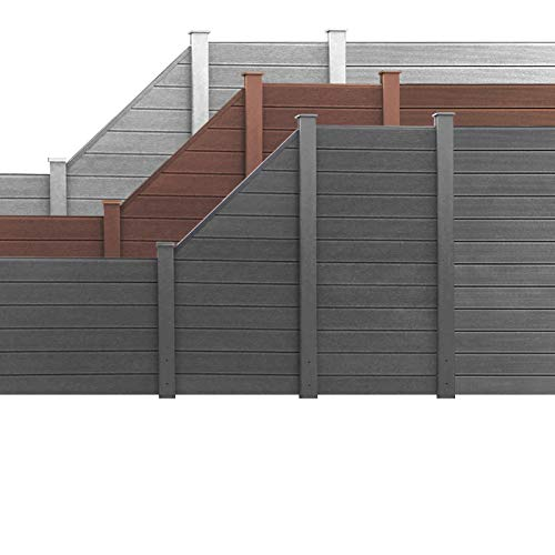 *HORI® WPC Garten Zaun I Lamellenzaun, Sichtschutz Komplettset I Braun I Höhe 180 cm I 1x Schräg und 1x Pfosten klein*