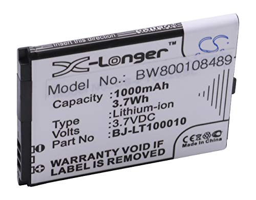 vhbw Li-Ion Akku 1000mAh (3.7V) für Handy Smartphone Telefon Panasonic KX-TU339, KX-TU339EXBE wie BJ-LT100010.