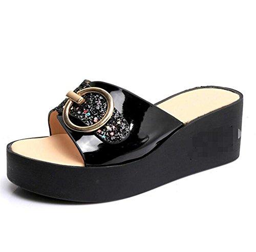 LDMB Frauen-Sommer-römischen Stil One Schriftart-Sequins Anti-Rutsch-atmungsaktive Pantoffeln Flip-Flops Strand-Schuhe Sandale Black