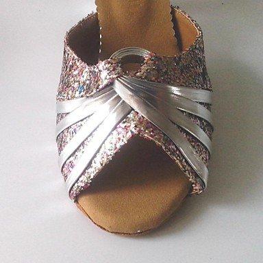XIAMUO Latin anpassbare Damen Sandalen angepasste Ferse funkelnden Glitter Schuhe (weitere Farben) Silber