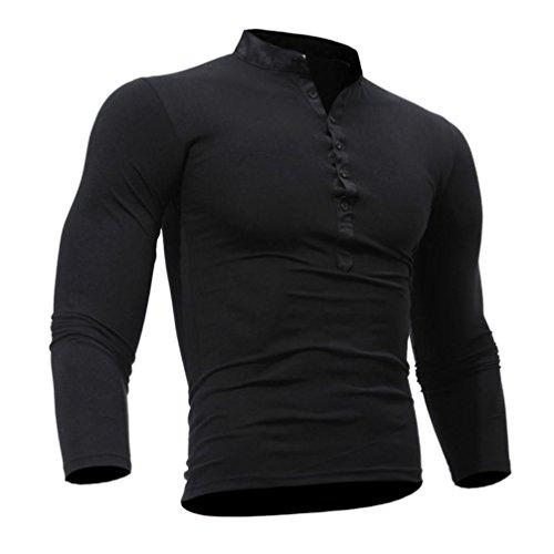 ❤️Veste Homme Sweatshirt Blouson❤️, Amlaiworld Hommes T-Shirt Printemps Automne Coton Tshirt Couleur Unie Tops Manches Longues (L, Noir)