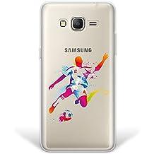 Funda Samsung Galaxy Grand Prime, WoowCase® [Hybrid] Jugador de Fútbol con Balón Deporte 2 Case Carcasa [Samsung Galaxy Grand Prime] Rígida fabricada en Policarbonato y bordes de TPU Silicona híbrida - Transparente