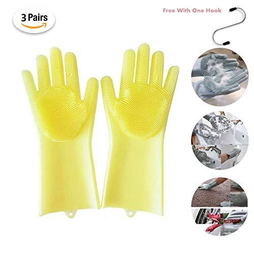 Kaifrly Guantes de Silicona Reutilizables con Limpiador de Lavado, Resistente al Calor, para Limpieza, hogar, Lavado de Platos, Lavar el Coche, Limpiar el Pelo de Mascotas (3 Pares)
