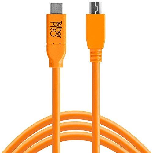 Tether Tools TetherPro USB-Datenkabel für USB-C an USB 2.0 Mini-B5 - 4,6 Meter Länge, gerader Stecker (orange) (Elektronik-tether)