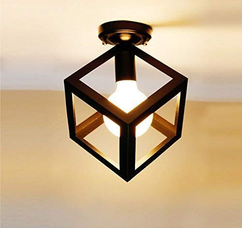 WWFF Mini Deckenleuchte Modern Square Single Lamp Deckenleuchte E27 Für Kitchen Shop Korridor Balkon Kleiderschrank Stauraum Iron Cube Frame Dekorieren Sie Ihr Zuhause (Kleiderschrank Frames)
