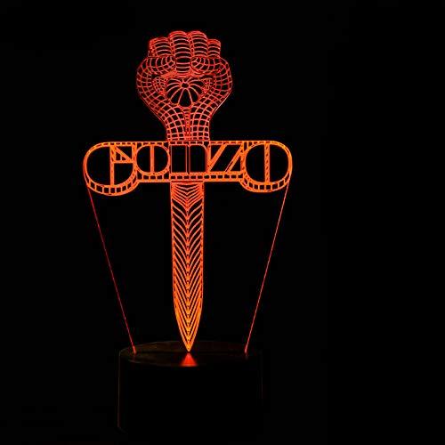 YDBDB Luz nocturna 3D Led Visual Creativo 7 Cambio de Color de Juego Espada Cruzada Lámpara de Escritorio Mesita de Noche Sleep Usb Light Para Niños Regalos de Cumpleaños