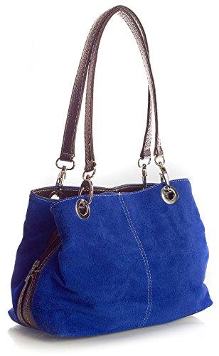 Big Handbag Shop kleine Damen Umhängetasche mit mehreren Reißverschlusstaschen aus Wildleder (3_MP Cobalt Blue Brw) (Handtaschen Cobalt Blue)