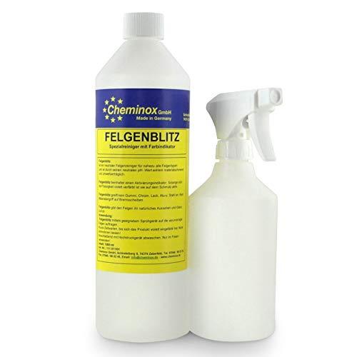 Cheminox Felgenreiniger 1L (1000ml), Konzentrat bis 3 Liter Lösung, Felgenpflege Alufelge, Stahlfelge, inkl Sprühflasche