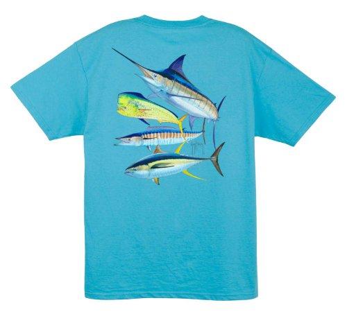 Guy Harvey 4ers T-Shirt Größe L Blau (Aquatic Blue) (Guy Harvey-t-shirt)