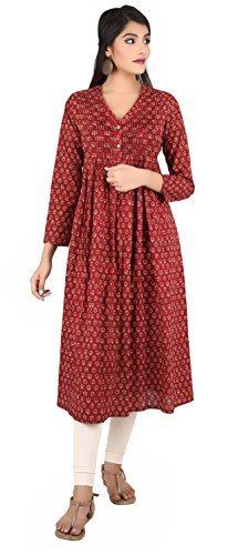 ANAYNA Women's Cotton Printed Front Pleated V Neck Kurta (Red) (L)