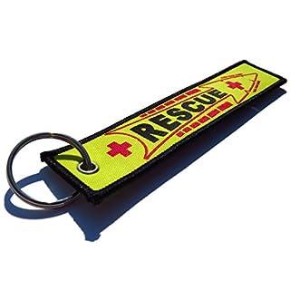 Give-a-way gewebter Schlüsselanhänger mit Rescue in gelb rot schwarz - 13 x 2,8 cm