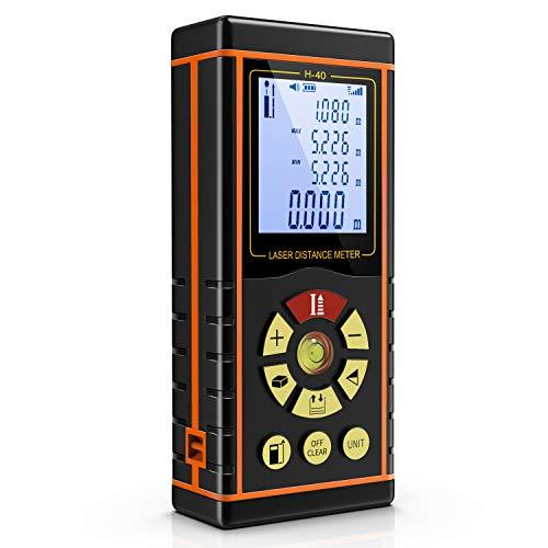 Laser Entfernungsmesser Messbreich 0.05~40m mit LCD Hintergrundbeleuchtung Fläche und Volumen,Pythagoras