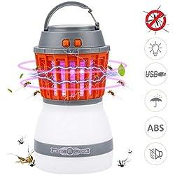 Lampe Anti Moustique LED UV Bawoo Lampe Camping 2 En 1 Lampe Torche Randonnée Rechargeable 2200mah Batterie Etanche IP67 3 Luminosité Avec USB Cable