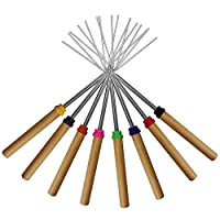 OUTANG Roasting Sticks Kitchen BBQ Picnic Tools Grill Fireplace Accessories Telescoping Hot Dog Forks Camping Cookware Patio Fire Pit Tools 8pcs