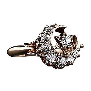 YSoutstripdu Fashion Mond Stern Ring Strass eingelegt Party Bankett Schmuck Charm für Frauen Dekoration