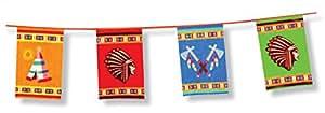 Boland 44101–Banner, Girlande, Wimpelkette, Motiv Indianer, 6m, 45x 30cm