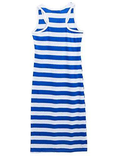Lady Blanc Bleu Rayure Dos Nageur Tank Robe taille XS Bleu