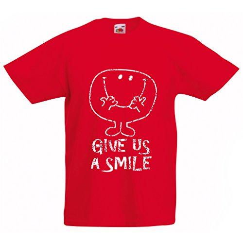 en/Mädchen T-Shirt Gib Uns EIN Lächeln! Glückliches Gesicht Emoji, Glückszitat (7-8 Years Rot Mehrfarben) ()