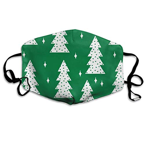 HUSDFS Mouth Masks Christmas Tree Green White Mouth Mask Unisex Dust Facemask Reusable Mask for Men and Women