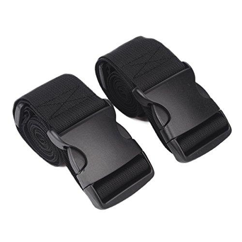 ZELTA Ripstop Utility Travel Gepäck Packriemen Tie Down mit Ratsche mit seitliche Schnalle Clip, 188x 5,1cm, 2PCS, schwarz, Z1327-A -