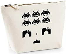 Hippowarehouse Space invaders printed make up cosmetic wash bag 18x19x9cm