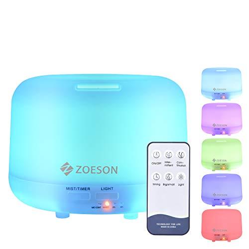 ZOESON Humidificador Ultrasónico, Difusores Humidificadores Aromas de 300ml, Difusor de Aceites Esenciales...