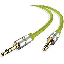 IBRA Cable de Audio Estéreo | 3,5mm Jack macho a 3,5mm macho | 5 Metro | Verde | Para iPhone 6S Plus, 6,5, iPad, Smartphones, Tablets y Reproductores Multimedia