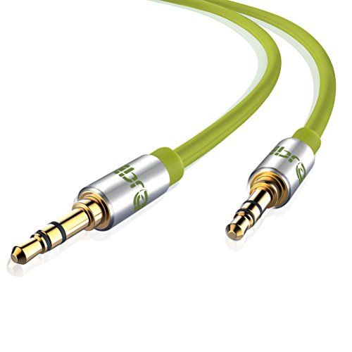 Aux Kabel [ 5m ] - IBRA Stereo Audio Klinkenkabel 5m - 3,5mm Klinken Stecker zu 3,5mm Klinken Stecker - für Kopfhörer,iPhone, Heim/KFZ Stereoanlagen, Smartphones, MP3 Player und mehr - Grün Audio-6.5
