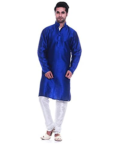 Men's Luxury Art Silk Blend Designer Occasional Kurta Churidar Set By Royal Kurta