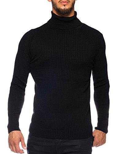 Karl's people Herren Feinstrick Rollkragenpullover in verschieden Farben K-107, Größe XXL, Farbe Black (Camp-t-shirt-designs)