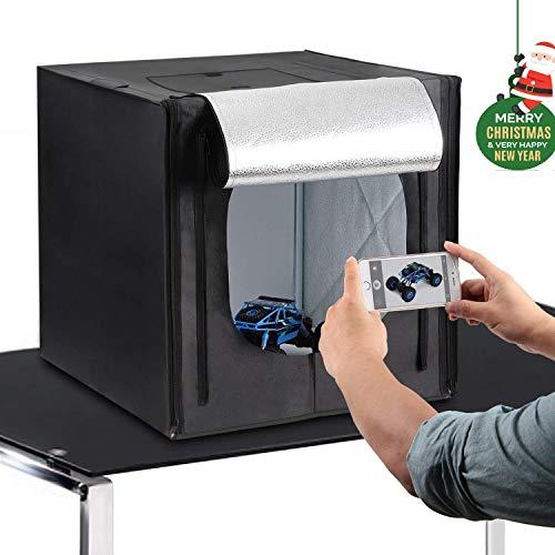 Amzdeal Caja de Fotografía Caja de Luz Portátil 50 x 50 x 50 cm para Hacer Fotos con 3 Fondos(Blanco/Negro/Naranja)+ 2 Tiras de LED y Bolsa de Transporte, versión