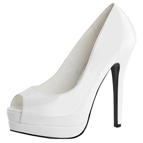 Heels-Perfect, Scarpe con plateau donna Bianco (Weiss (weiss))
