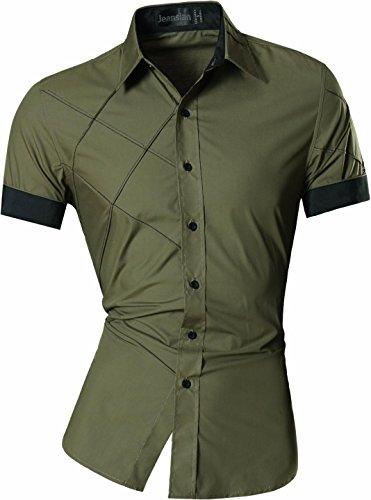 Jeansian uomo camicie manica corta moda men shirts slim fit casual fashion z003 armygreen s