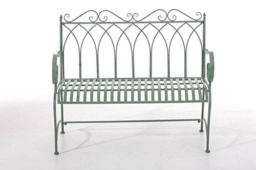 CLP Gartenbank DIVAN im Landhausstil, aus lackiertem Eisen, 106 x 51 cm – aus bis zu 6 Farben wählen Antik Grün - 2