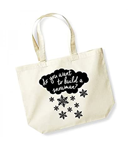 Do You Want to Build a Snowman? - Large Canvas Fun Slogan Tote Bag (Natural/Black)