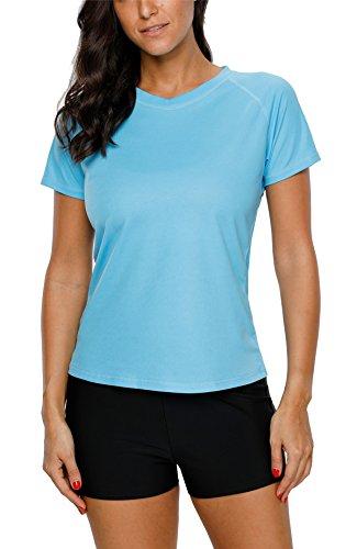 Sociala Damen Bademode Rashguard UV Shirts Kurzarm Surf Shirt Schwimmshirt UPF 50+ Einfarbig Aqua M DE38