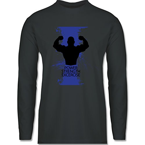 CrossFit & Workout - Power Strength Exercise - Longsleeve / langärmeliges T-Shirt für Herren Anthrazit