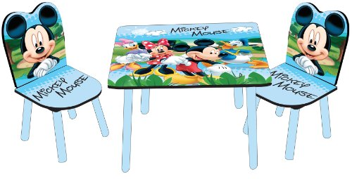 Disney Designs Wood/ MDF Table and Chairs Mickey Mouse with Glossy Print, 60 x 60 x 42 cm, 3-Piece, Blue