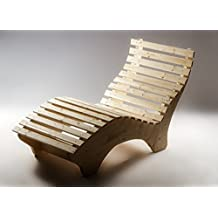 Tuga Holztech Naturholz Massive Wetterfeste Extrem Stabile Luxus Relaxliege  Massivholzliege Liege Formliege 120cm Breit Liegelänge 220cm
