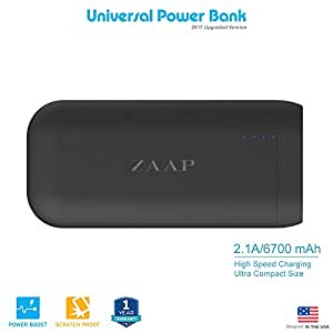 ZAAP 6700mAh Ultra Compact Panasonic Cells Fast Charging 2.1A CES Universal Compatibility Premium Design Smart Features Power Bank