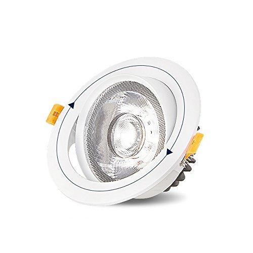 Splindg Aluminium Cob Spotlight LED Deckenbeleuchtung Lampe Einstellbare Winkel Runde Einbaudownlight Für Küche Schlafzimmer Esszimmer (Color : Warm White, Größe : 5 inches 20W)