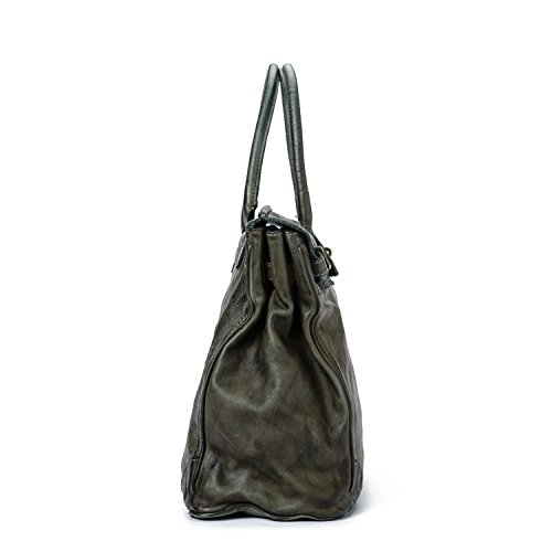 Ira del Valle, Borsa Donna, In Vera Pelle, Vintage, Borsa donna, Modello Boston Bag, Made In Italy Grigio