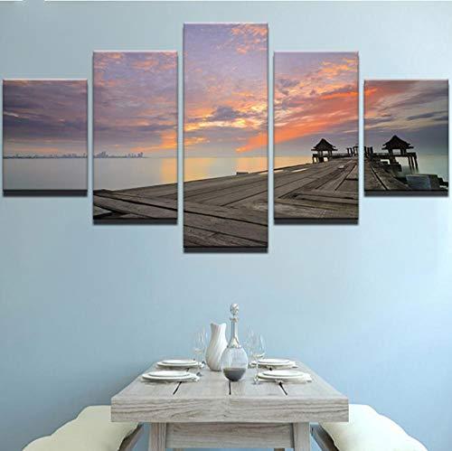 k wandkunst bild dekoration wohnzimmer 5 panel sonnenuntergang glühen lange brücke seelandschaft wandbild dekoration ()